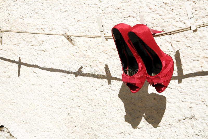 Download Red shoes stock image. Image of pegs, pair, clothes, women - 27304781