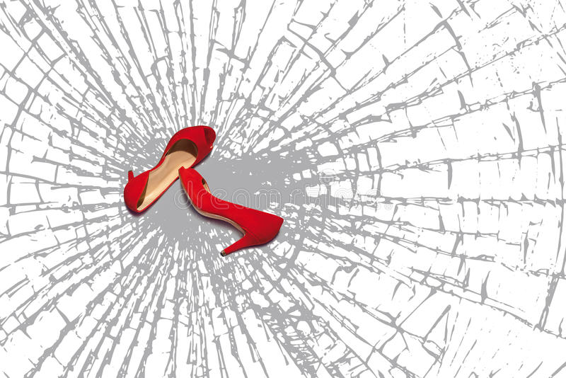 Red shoes, fragments of broken glass vector illustration