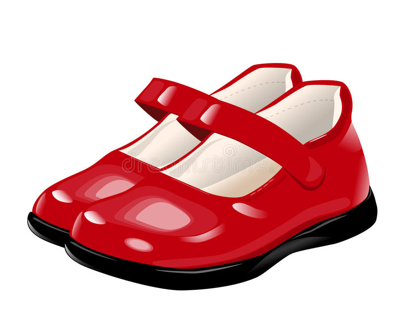 Red shoes for girls stock illustration