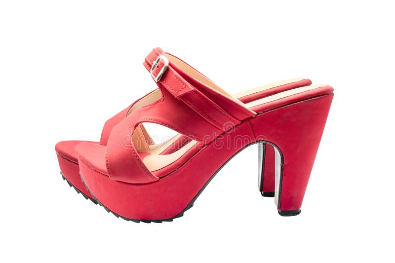 Red shoes high heels isolated on a white background. Object with clipping path royalty free stock photo