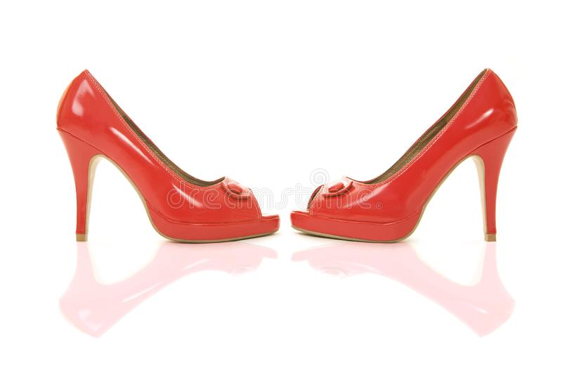Red shoes with reflection royalty free stock photos