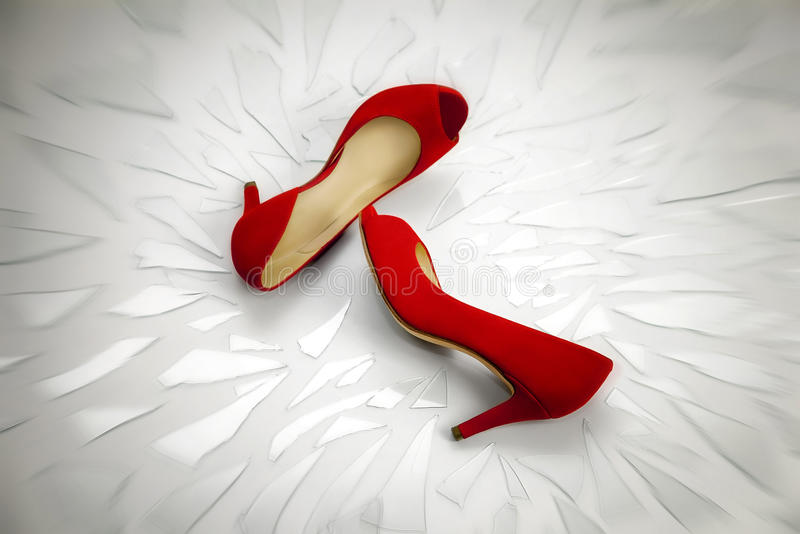 Red shoes, a symbol femicide stock photo