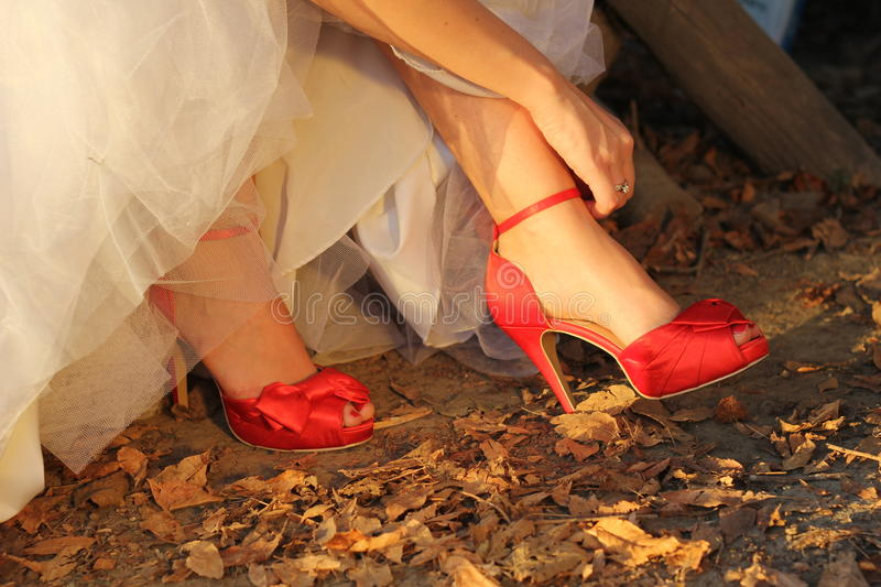 Download Red Shoes For Wedding Royalty Free Stock Photo