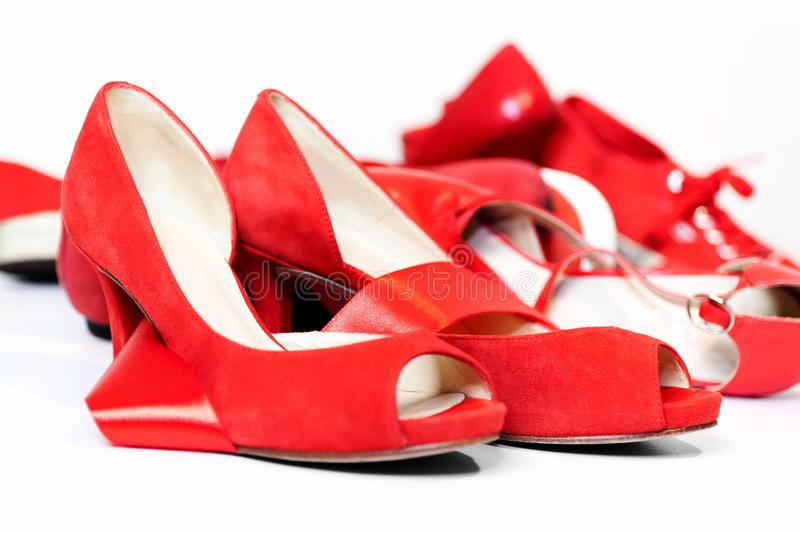 Red shoes, a symbol femicide. Illustrative editorial royalty free stock photography