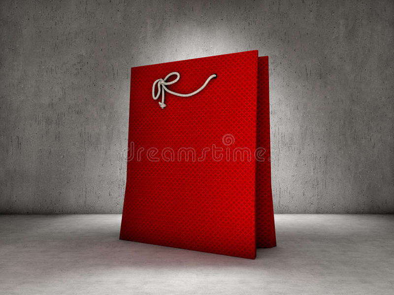 Red shopping bag. On concrete background stock illustration