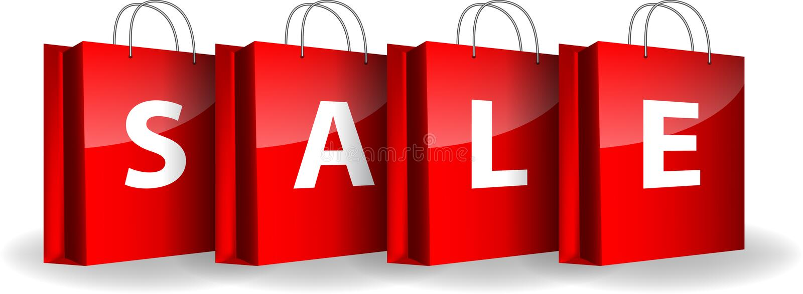 Red shopping bags with the word Sale royalty free illustration