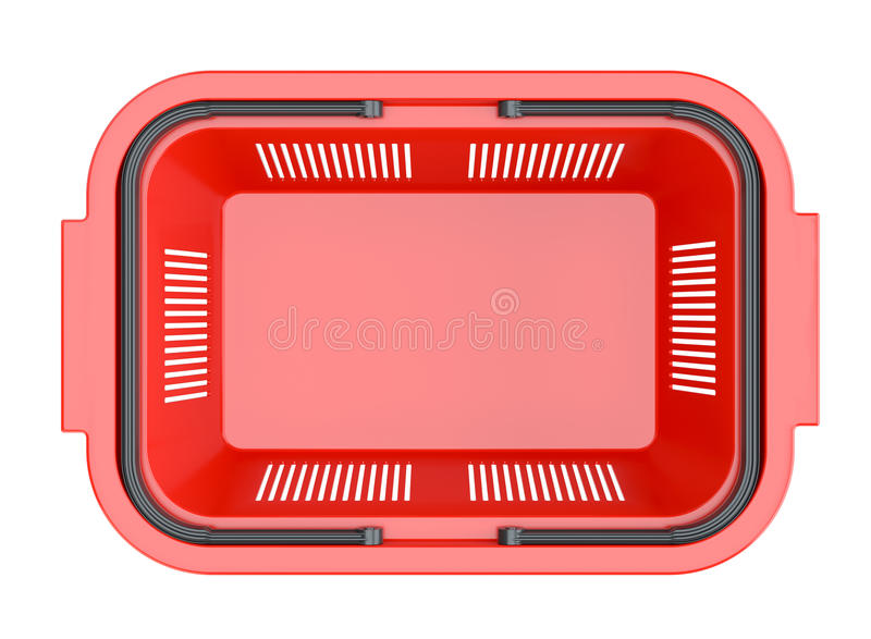 Red shopping basket. Shopping basket. Isolated on white background. Top view. 3D Illustration stock photos