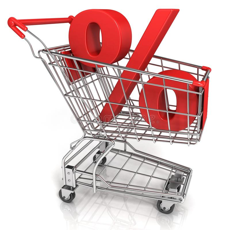 Red shopping cart with percent sign. Isolated on white background stock illustration