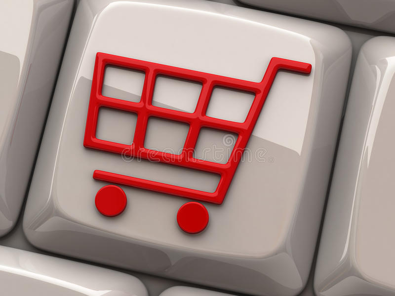 Red shopping cart symbol on computer key. Illustration of red shopping cart symbol on computer key royalty free illustration
