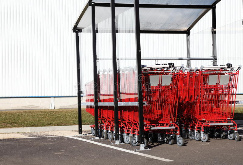 Red Shopping Trolleys royalty free stock photo
