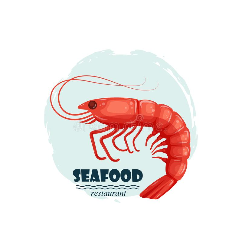 Red shrimp seafood restaurant label with splash and text isolated on white background. Sea water animal icon. Design royalty free illustration