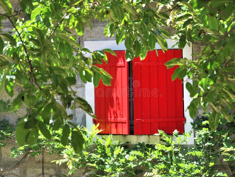 Red Shutters Stock Photo Image Of Closeup Vintage