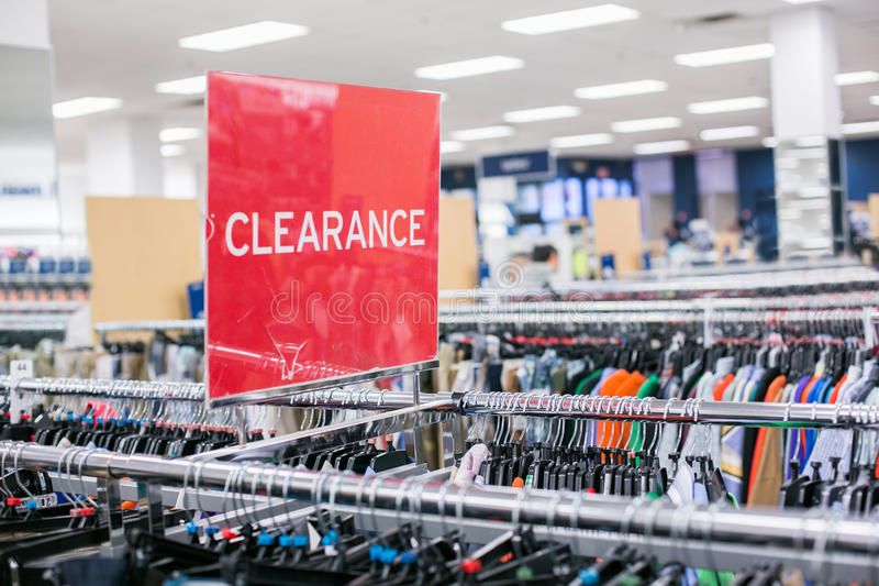 Red sign Clearance in store. stock photo