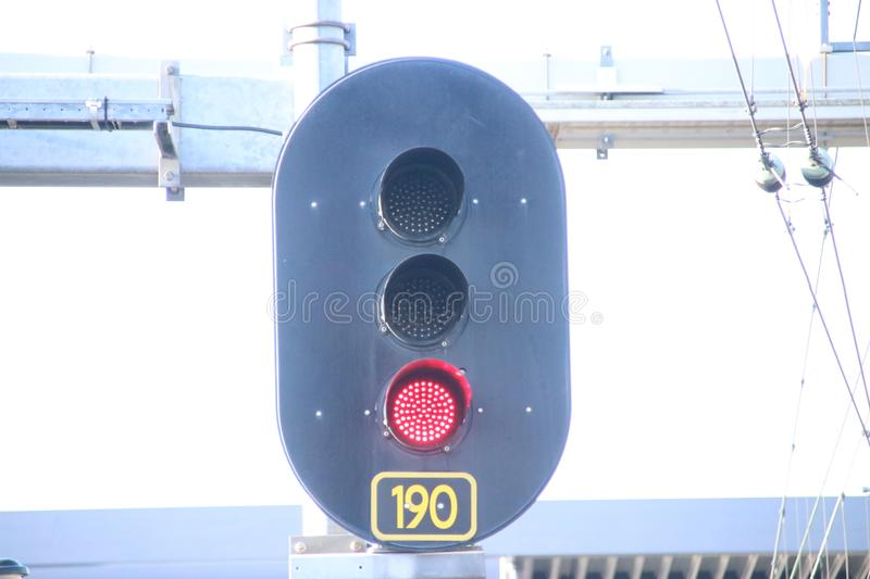 Red sign with number 190 at railroad track at train station Den Haag Ypenburg in The Hague in the Netherlands. stock photography
