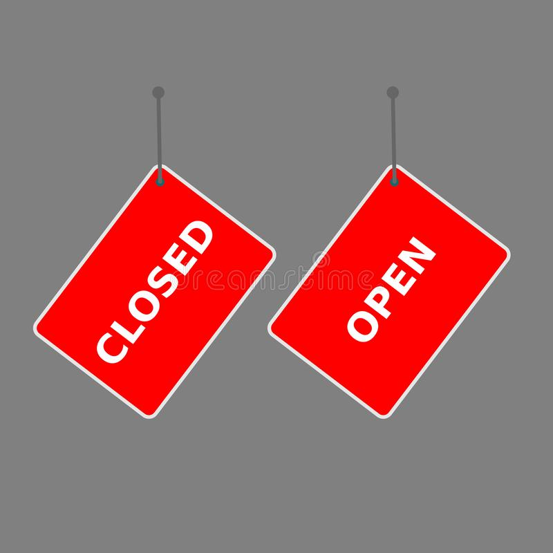 Red sign `open` and `close` tag royalty free illustration