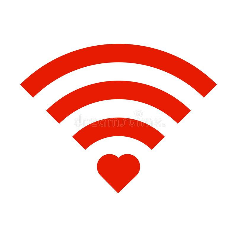 Red Sign Wifi with red heart isolated on white background. Wi-Fi icon. vector illustration