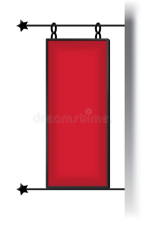 Red signboard in Europe style vector illustration