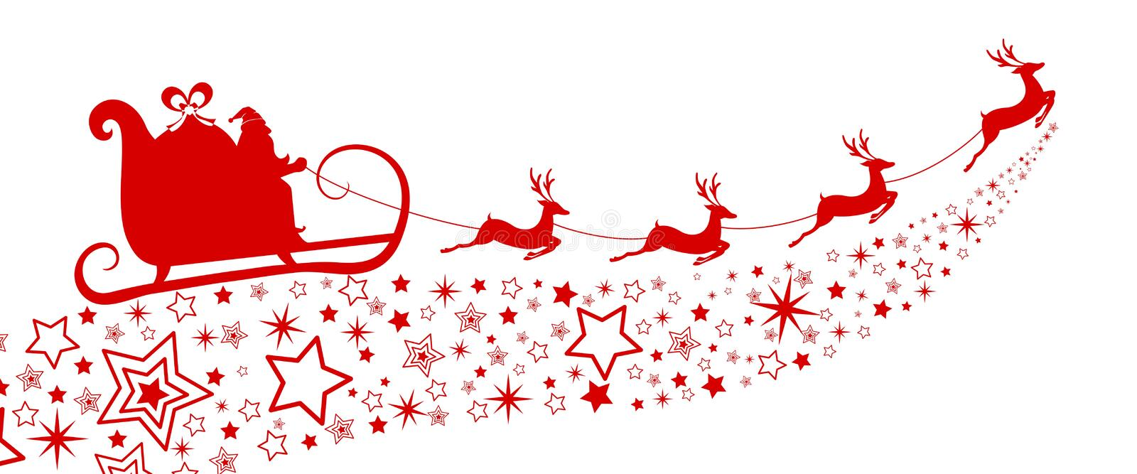 Red Silhouette. Santa claus flying with reindeer sleigh on star. vector illustration