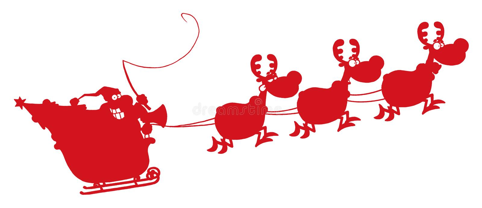 Red silhouetted of magic reindeer and santa's. Red silhouetted santa in flight with his reindeer and sleigh stock illustration