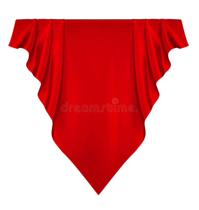 Red silk banner. Isolated on white royalty free stock photography