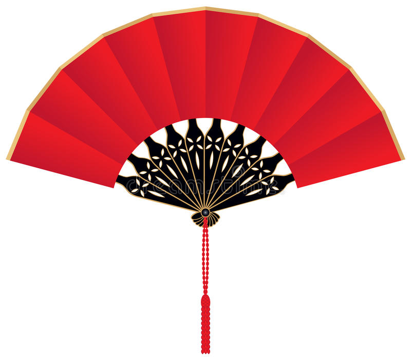 Download Red Silk Chinese Fan stock vector. Image of open, gold - 13976370