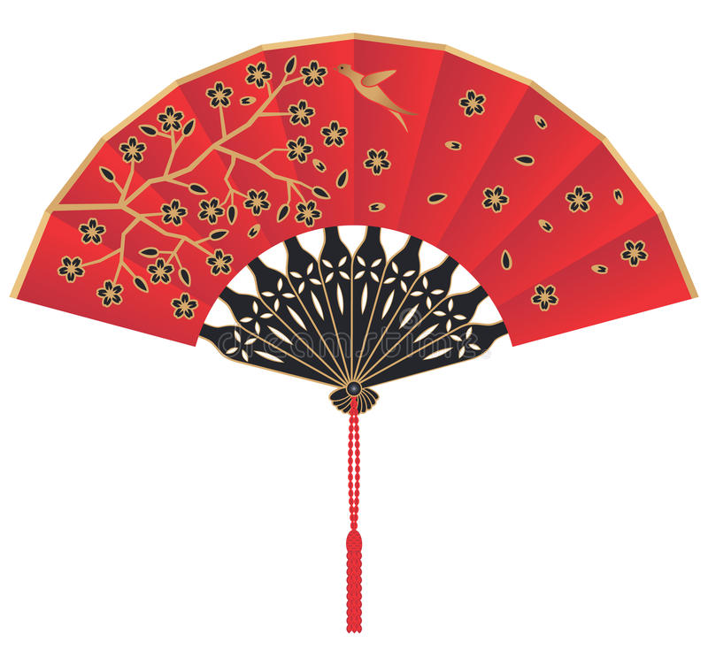 Download Red Silk Chinese Fan With Flowers And Bird Stock Vector - Illustration: 13976609