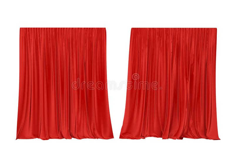 Red silk curtain isolated on white background. 3d render. stock illustration