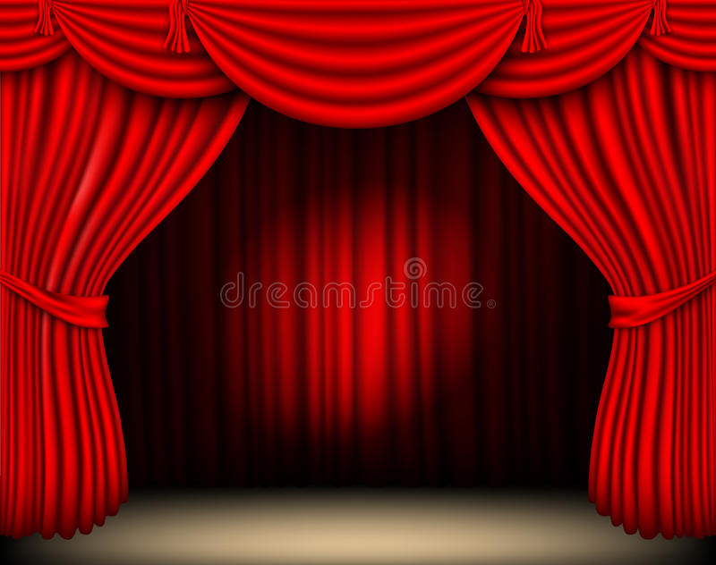 Red silk curtain with light. From the searchlight royalty free illustration