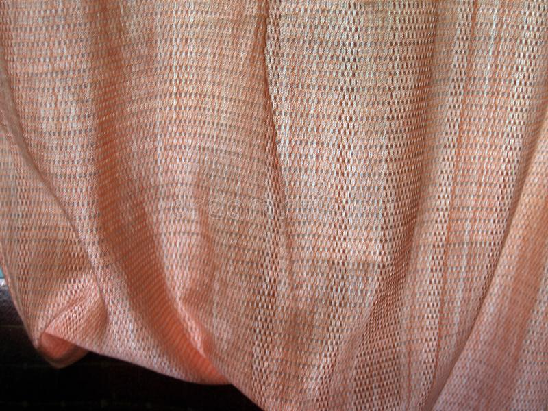 Red silk curtains stock photography