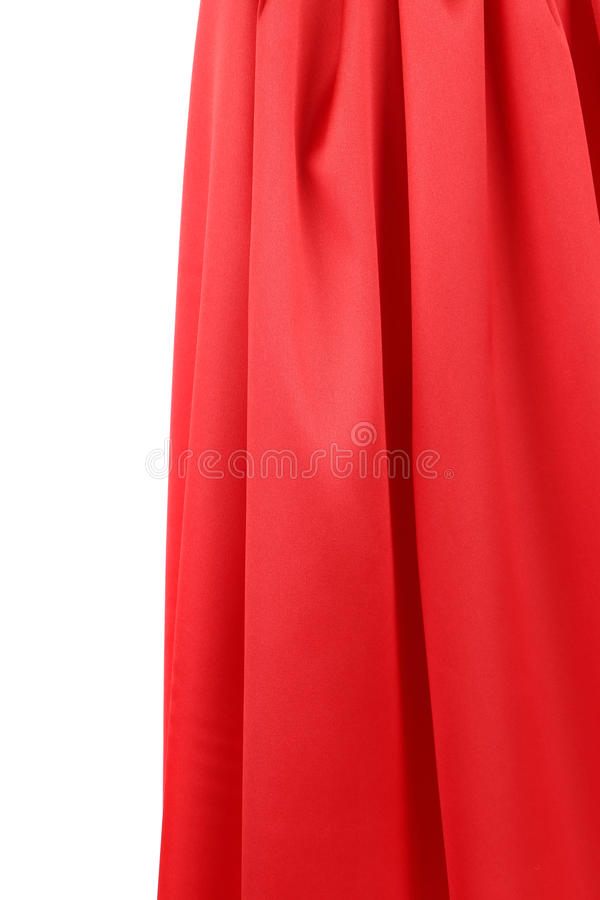 Red silk drapery. Isolated on a white background royalty free stock photography