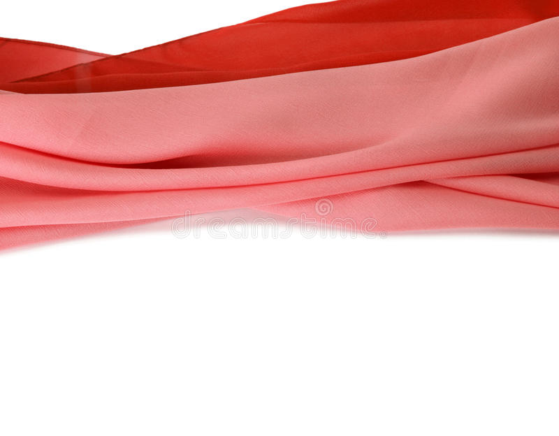 Red silk fabric background on white royalty free stock photography