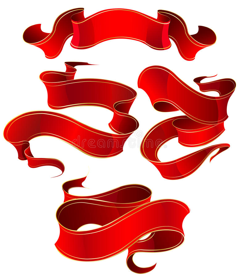 Red silk ribbon vector illustration