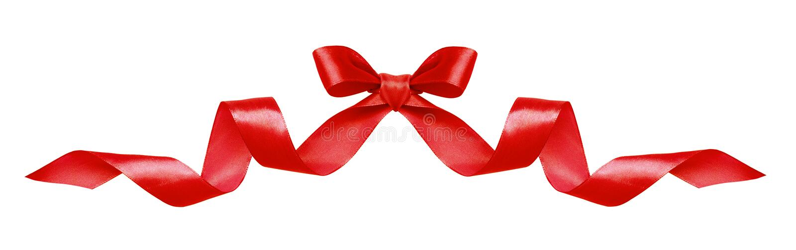 Red silk ribbon bow stock images