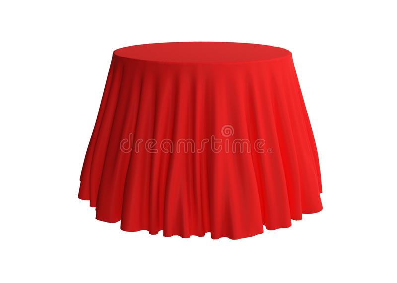 Red silk tablecloth on a white background, template, mockup for. Design, 3d rendering, 3d illustration vector illustration