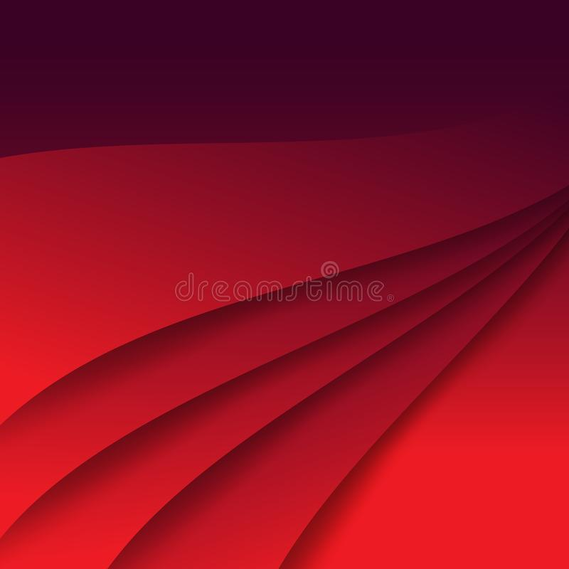 Red silk texture, smooth curve lines abstract background vector. Illustration template stock illustration