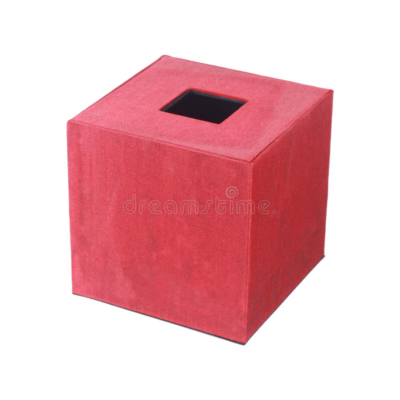 red silk tissue box isolated on white stock photo