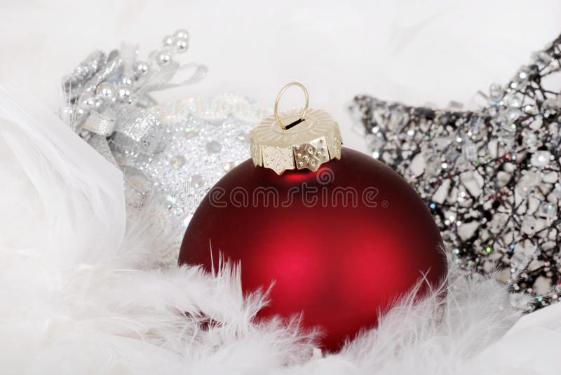 Red and silver christmas ornaments stock image