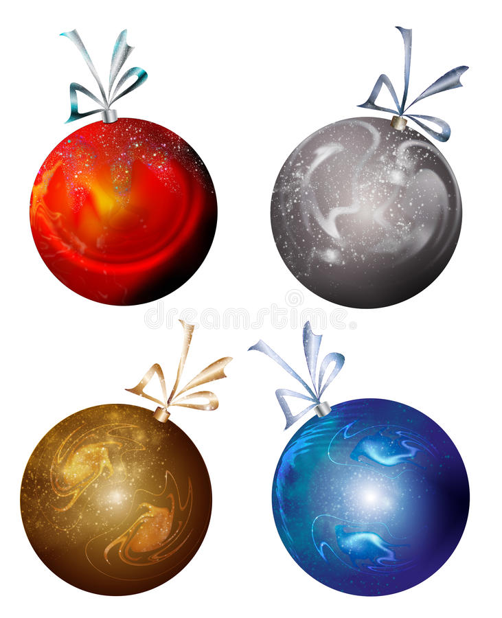 Red Silver Gold Blue Christmas bulbs stock photography