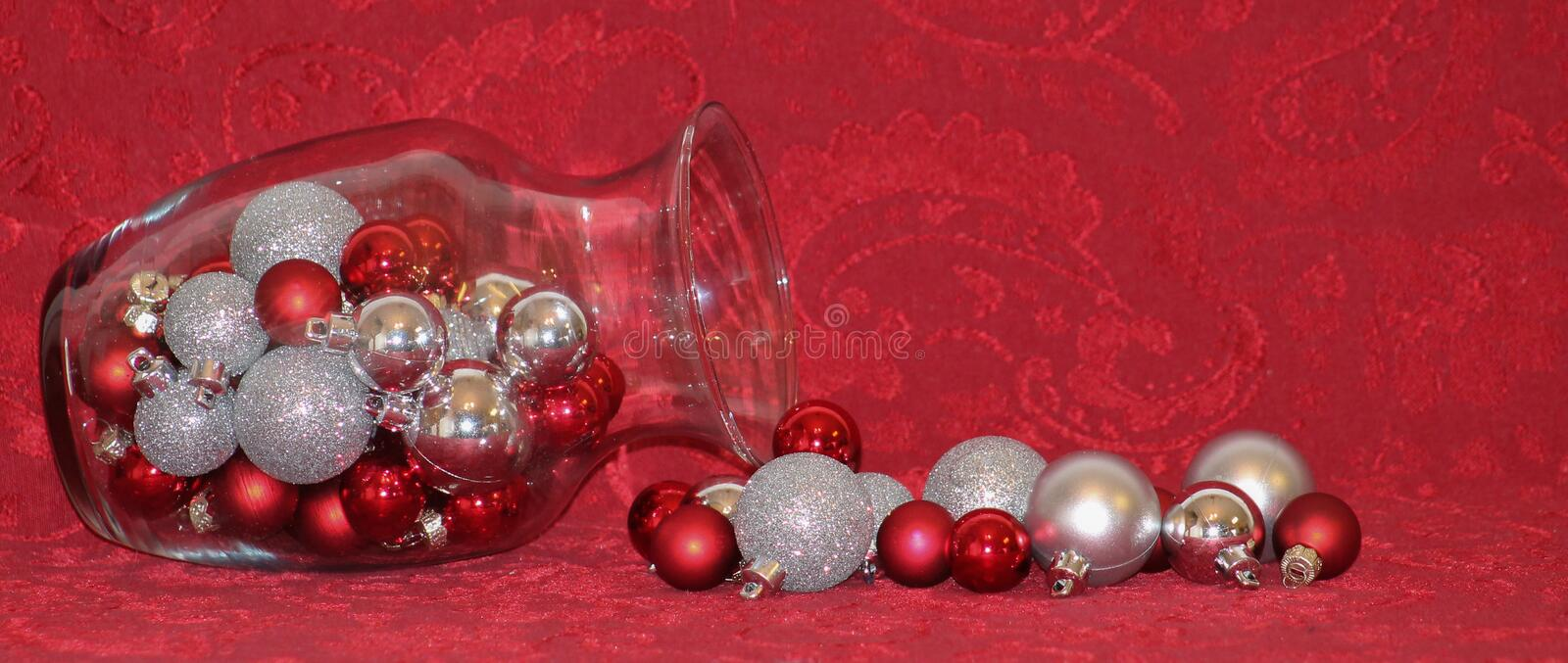Red, Silver and Gold ornaments. royalty free stock photos