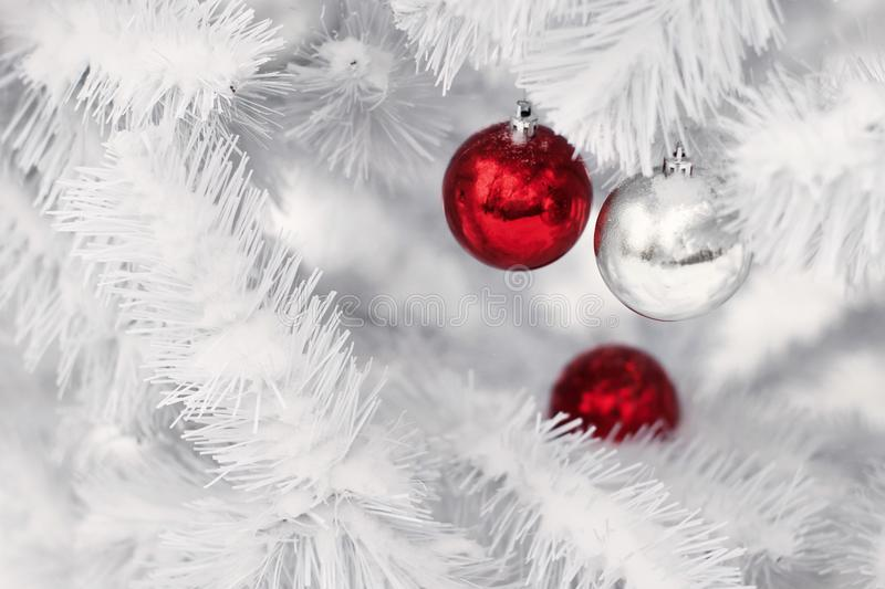Red and silver ornament balls on white christmas tree branches. Merry christmas stock photos