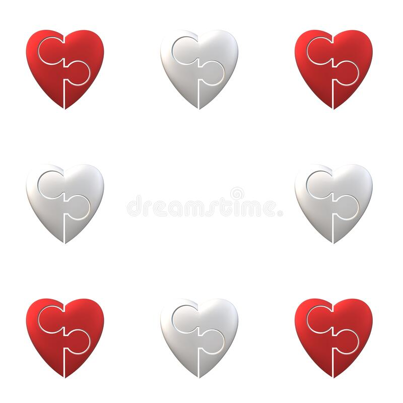Red and silver puzzle hearts isolated on white background frame border vector illustration