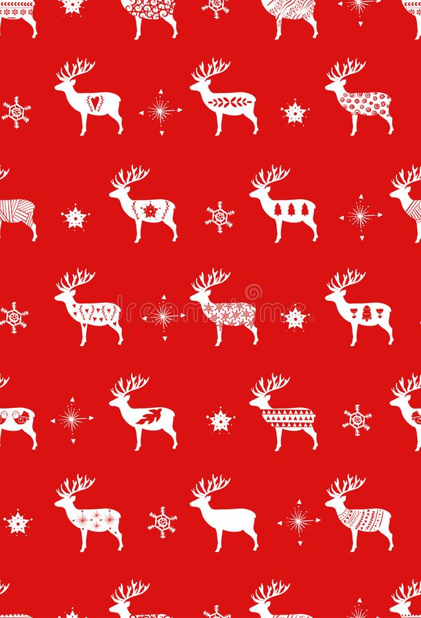 Red simple Christmas deer for holiday celebrations Scandinavian Nordic style. Christmas, new year decor. Seamless. Pattern with simple decoration hand drawn vector illustration
