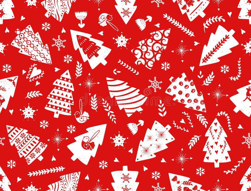 Red simple Christmas fir tree for holiday celebrations Scandinavian Nordic style. Christmas, new year decors. Seamless. Pattern, simple decoration hand drawn