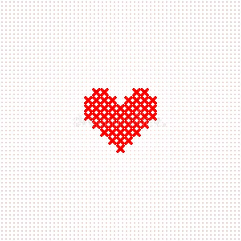 Free Red Simple Cute Cross Stitch Heart On White Canvas Card Template, Vector Stock Image - 136002041