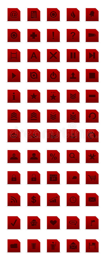 Red simple webdesign icon set royalty free stock photo