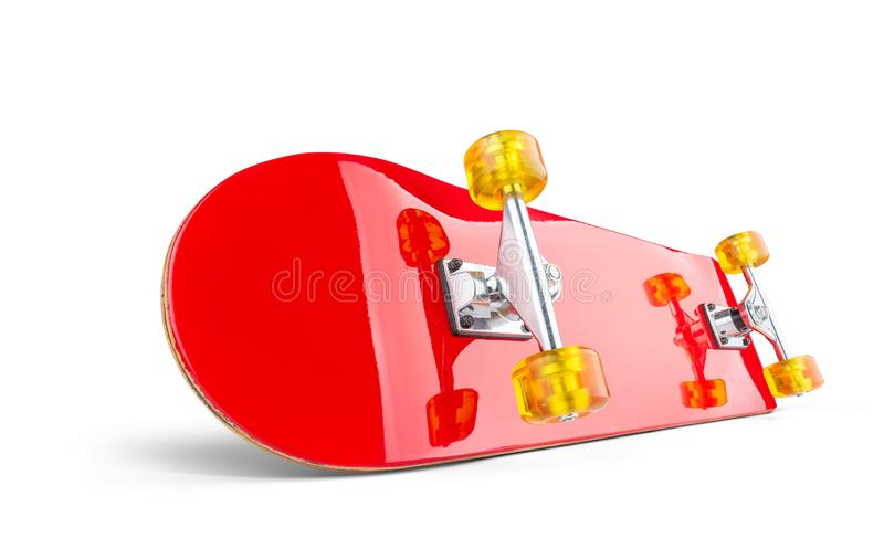 Red skateboard deck, isolated on white background. File contains a path to isolation.  royalty free stock image