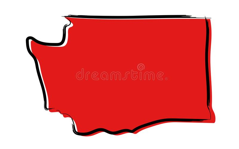 Red sketch map of Washington royalty free illustration