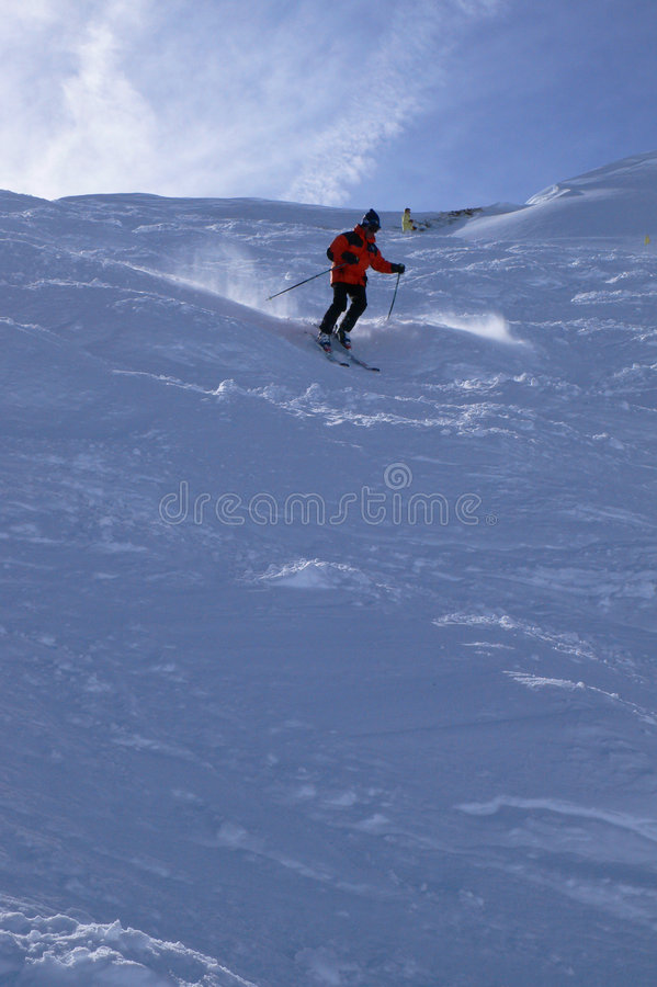 Download Red skier in powder snow, stock photo. Image of area, winter - 5044098