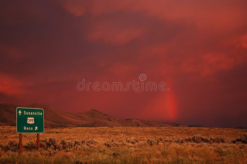 Red skies stock photo