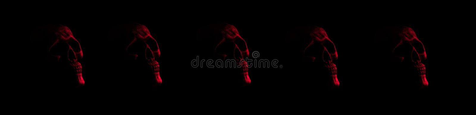 Red skulls- five in row. Five red realistic half lit skulls against black background for banner or ads royalty free stock images